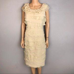 JJ's House Tiered Ruffle Formal Sheath Dress Lace